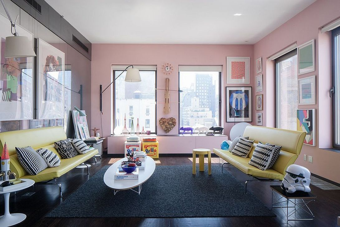 Gorgeous Pink Accent Living Room Decorating Ideas 20