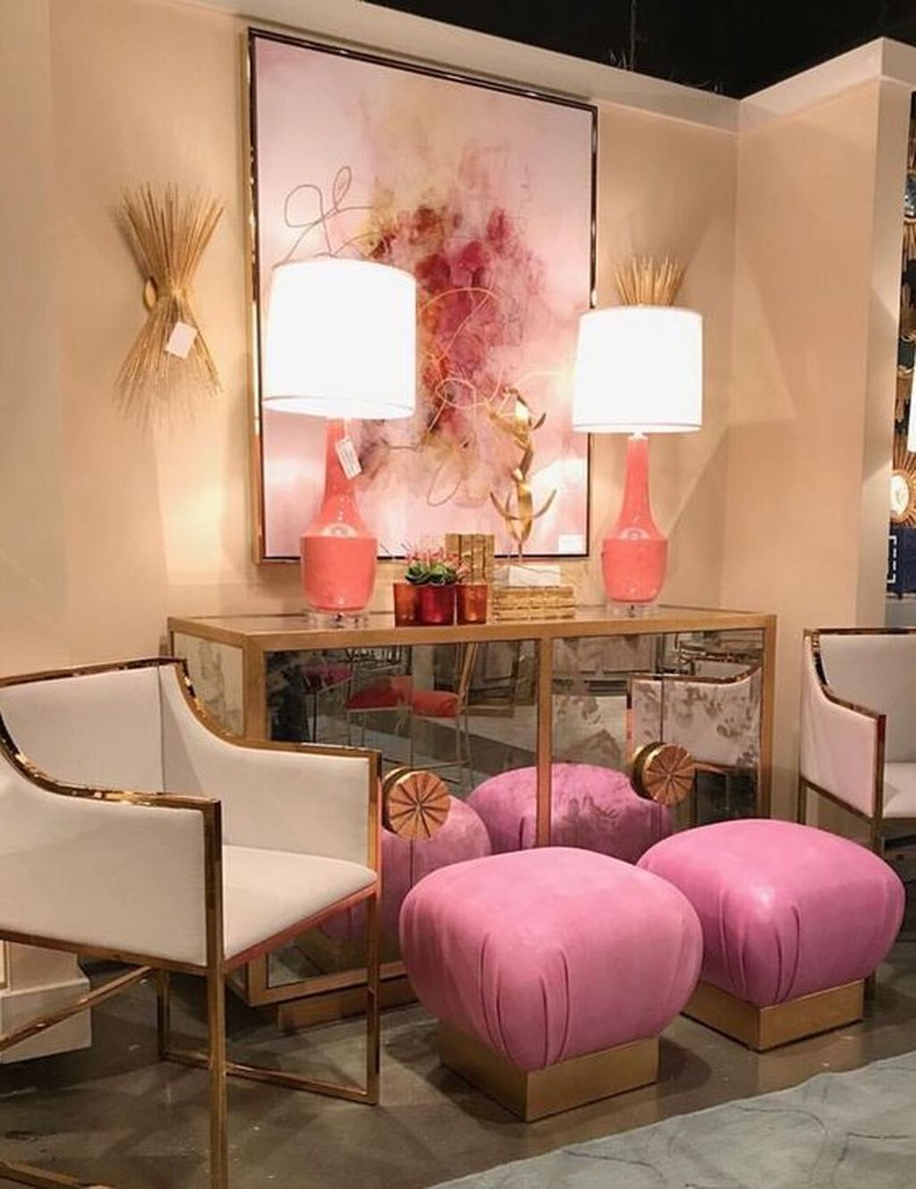 Gorgeous Pink Accent Living Room Decorating Ideas 26