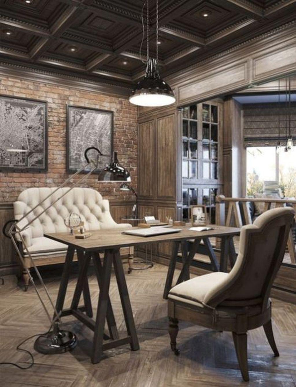 Gorgeous Rustic Office Decor Ideas 19