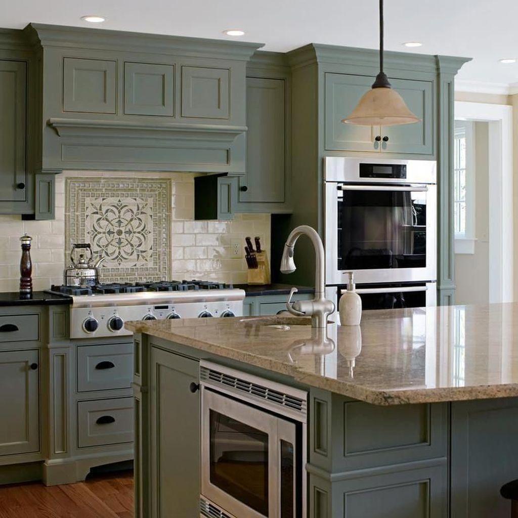 31 Nice Sage Kitchen Cabinets Design Ideas - MAGZHOUSE
