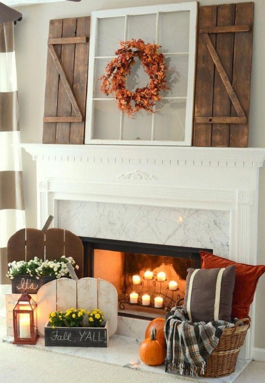 Popular Fall Fireplace Decoration Ideas 31