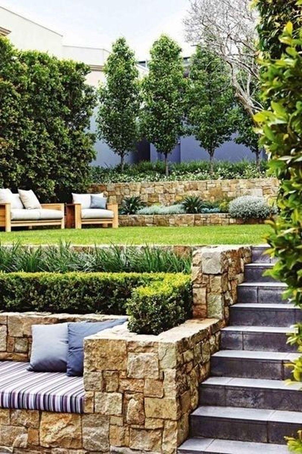Popular Terraced Landscaping Slope Yard Design Ideas 12