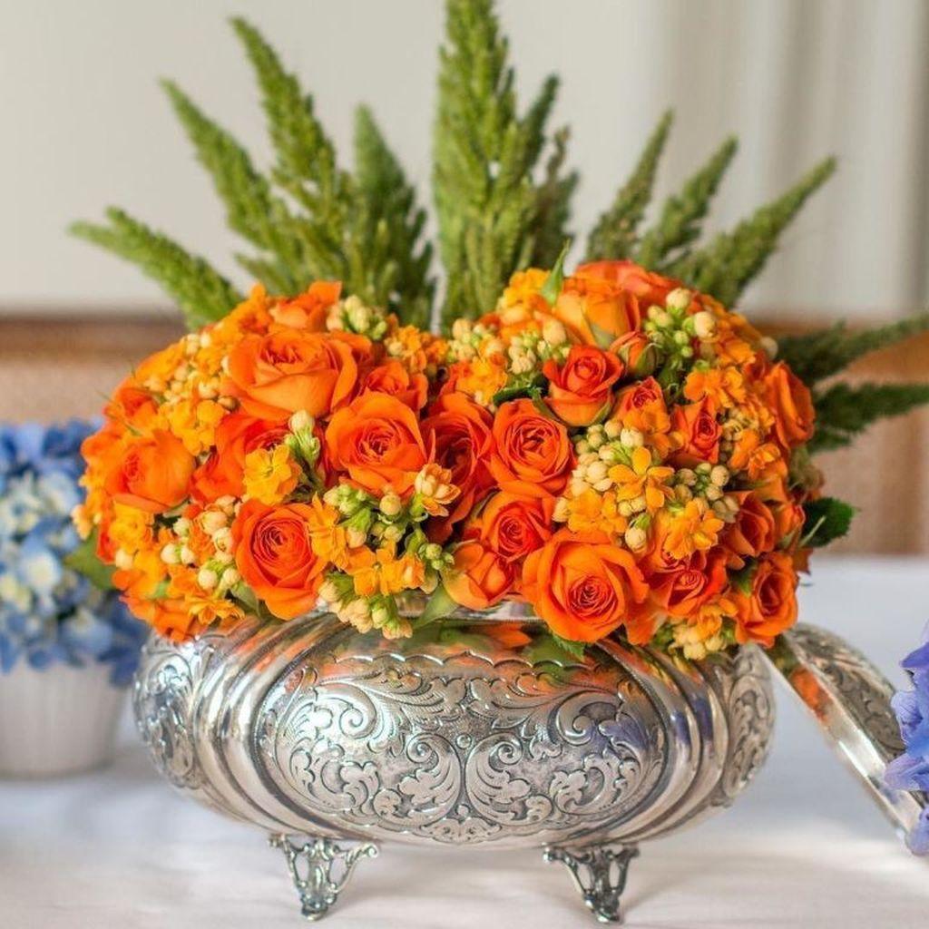 Beautiful Fall Flower Arrangement Design Ideas For Living Room Decor 13