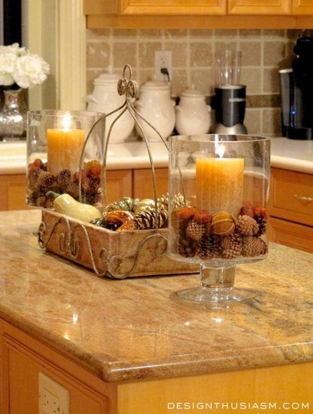 Beautiful Fall Theme Kitchen Island Decor Ideas 23