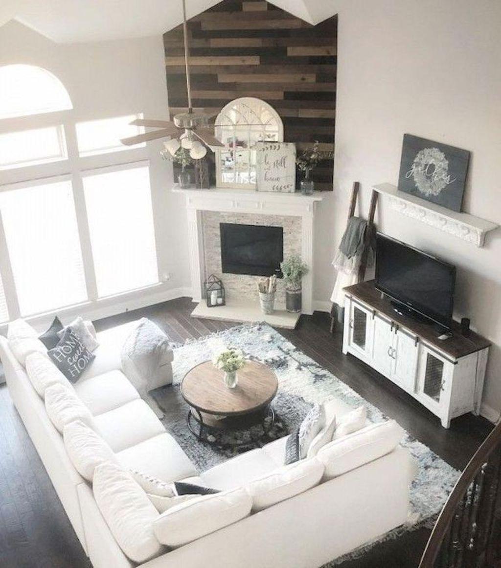 Incredible Rustic Farmhouse Living Room Design Ideas 11