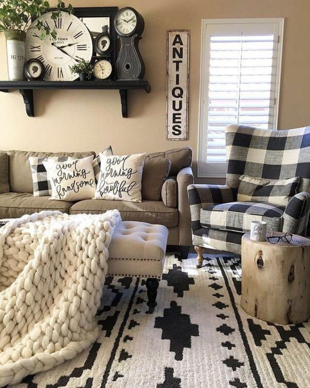 Incredible Rustic Farmhouse Living Room Design Ideas 13