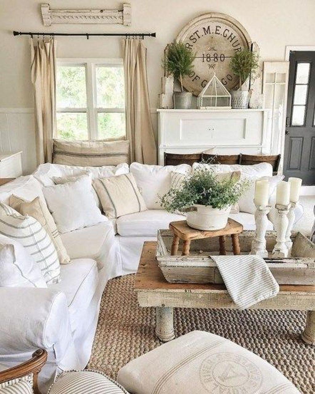 Incredible Rustic Farmhouse Living Room Design Ideas 35