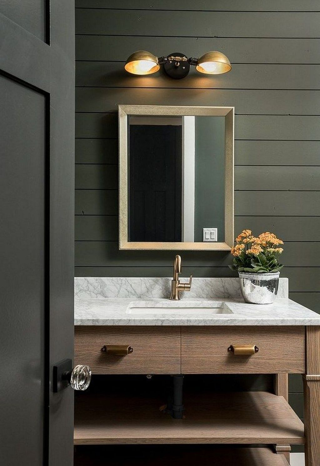 Inspiring Black Powder Room Design Ideas With Modern Style 07