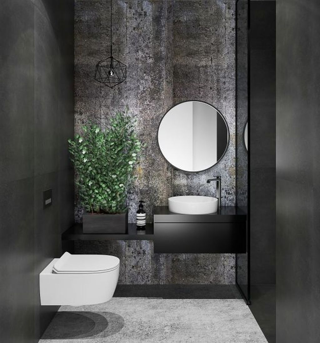 Inspiring Black Powder Room Design Ideas With Modern Style 14