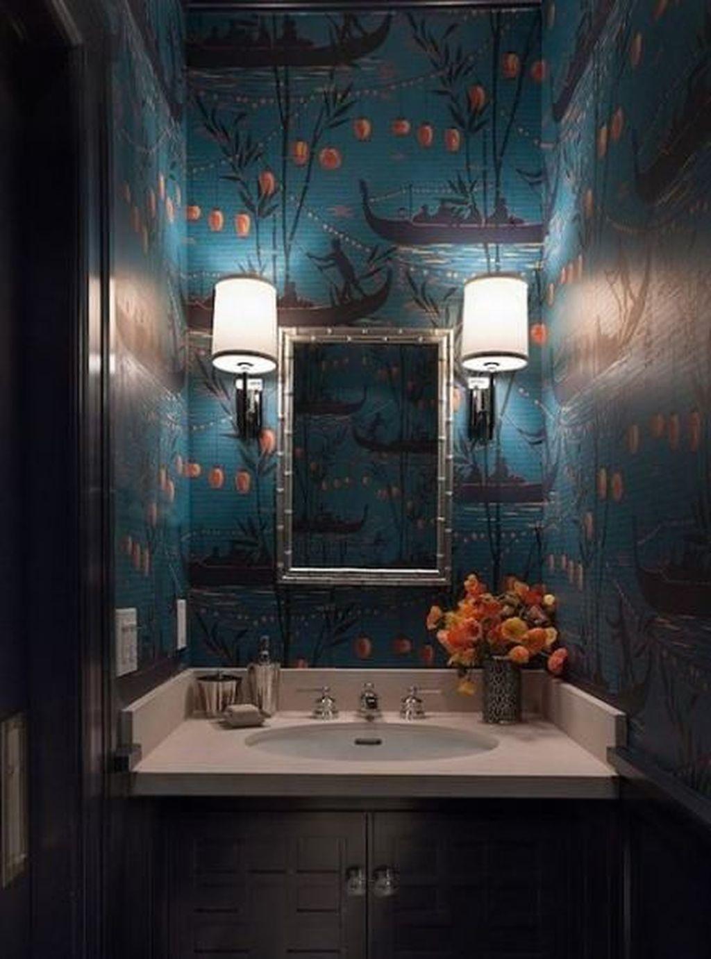 Inspiring Black Powder Room Design Ideas With Modern Style 22