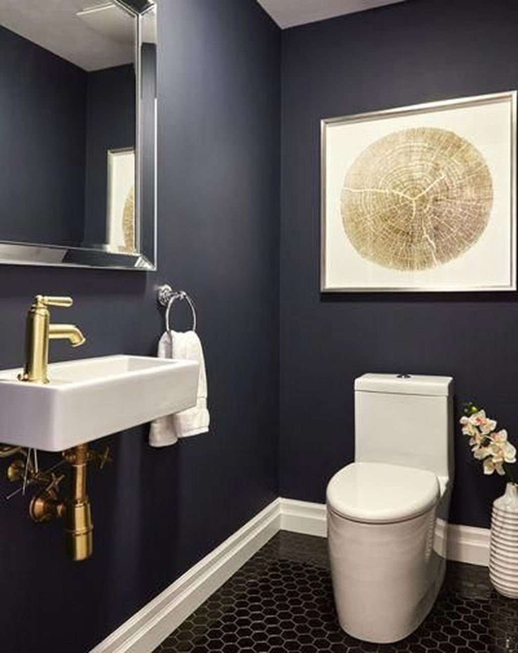 Inspiring Black Powder Room Design Ideas With Modern Style 23