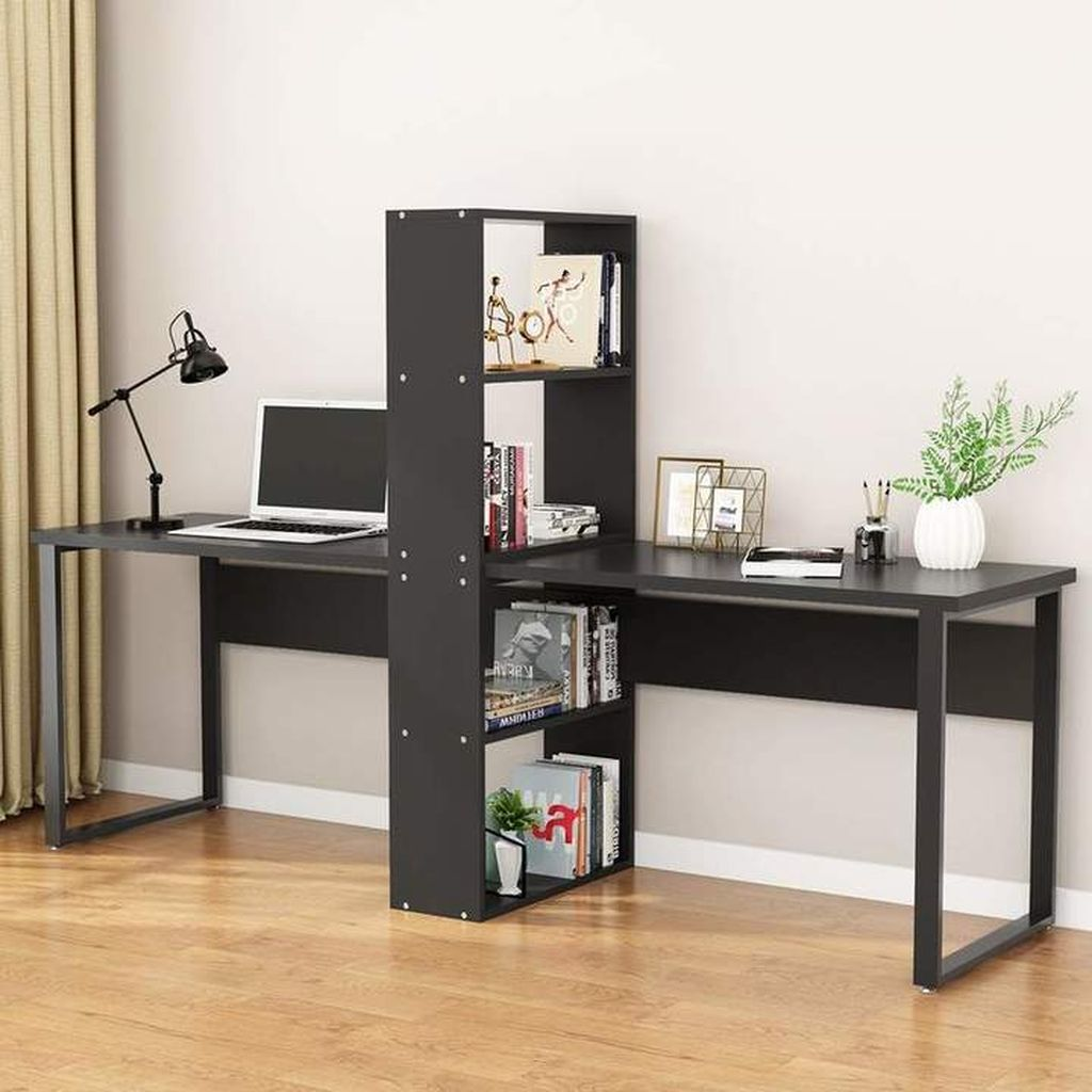 Inspiring Double Desk Home Office Design Ideas 08