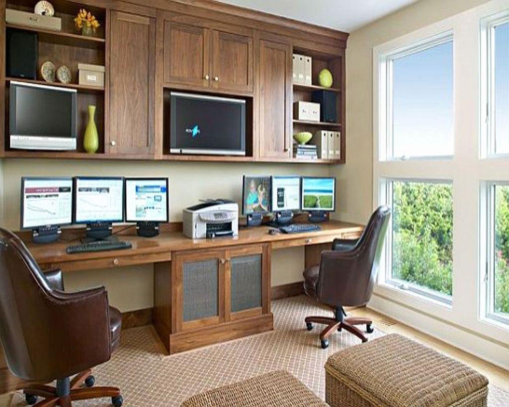 Inspiring Double Desk Home Office Design Ideas 09