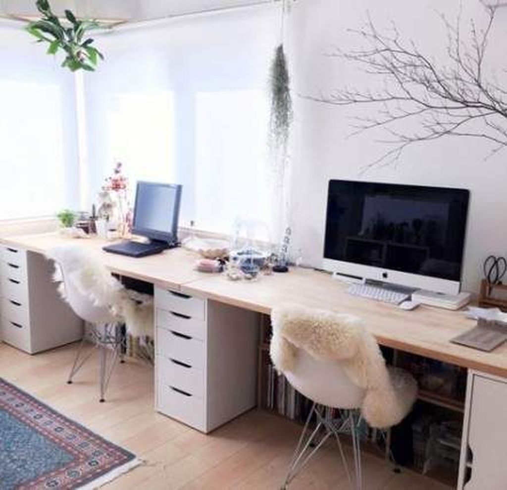 Inspiring Double Desk Home Office Design Ideas 16