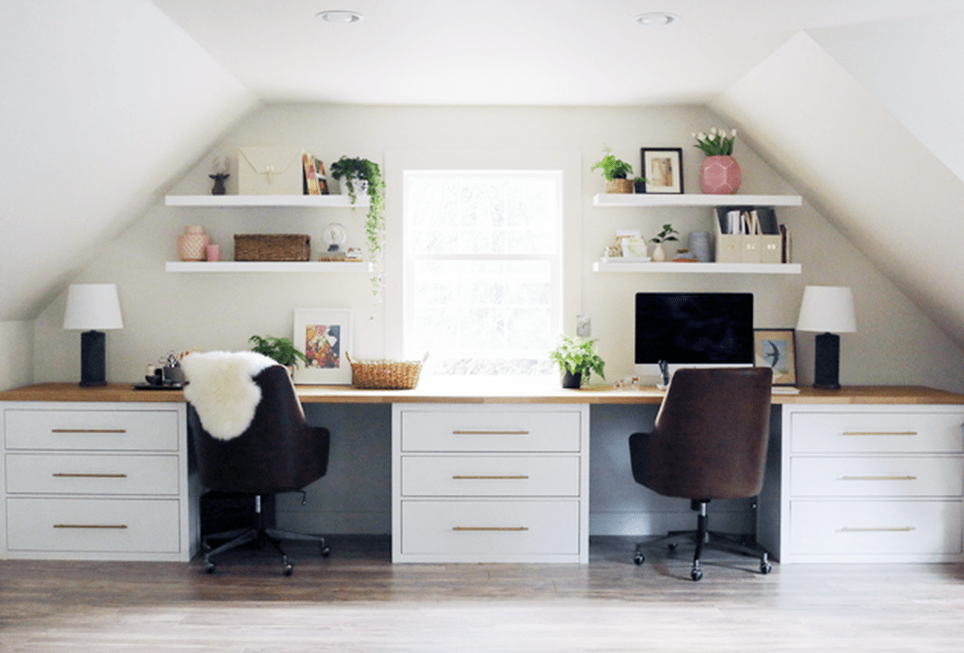 Inspiring Double Desk Home Office Design Ideas 17