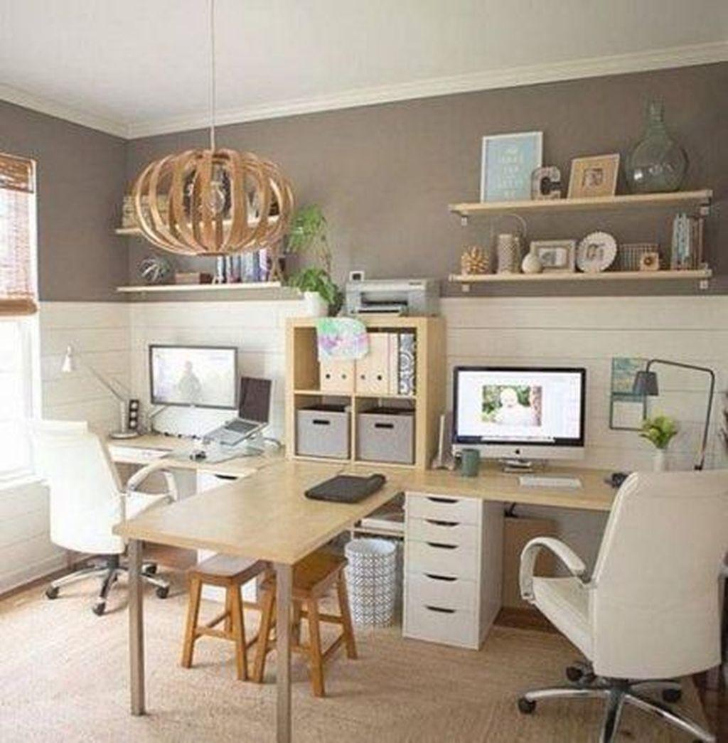 Inspiring Double Desk Home Office Design Ideas 20