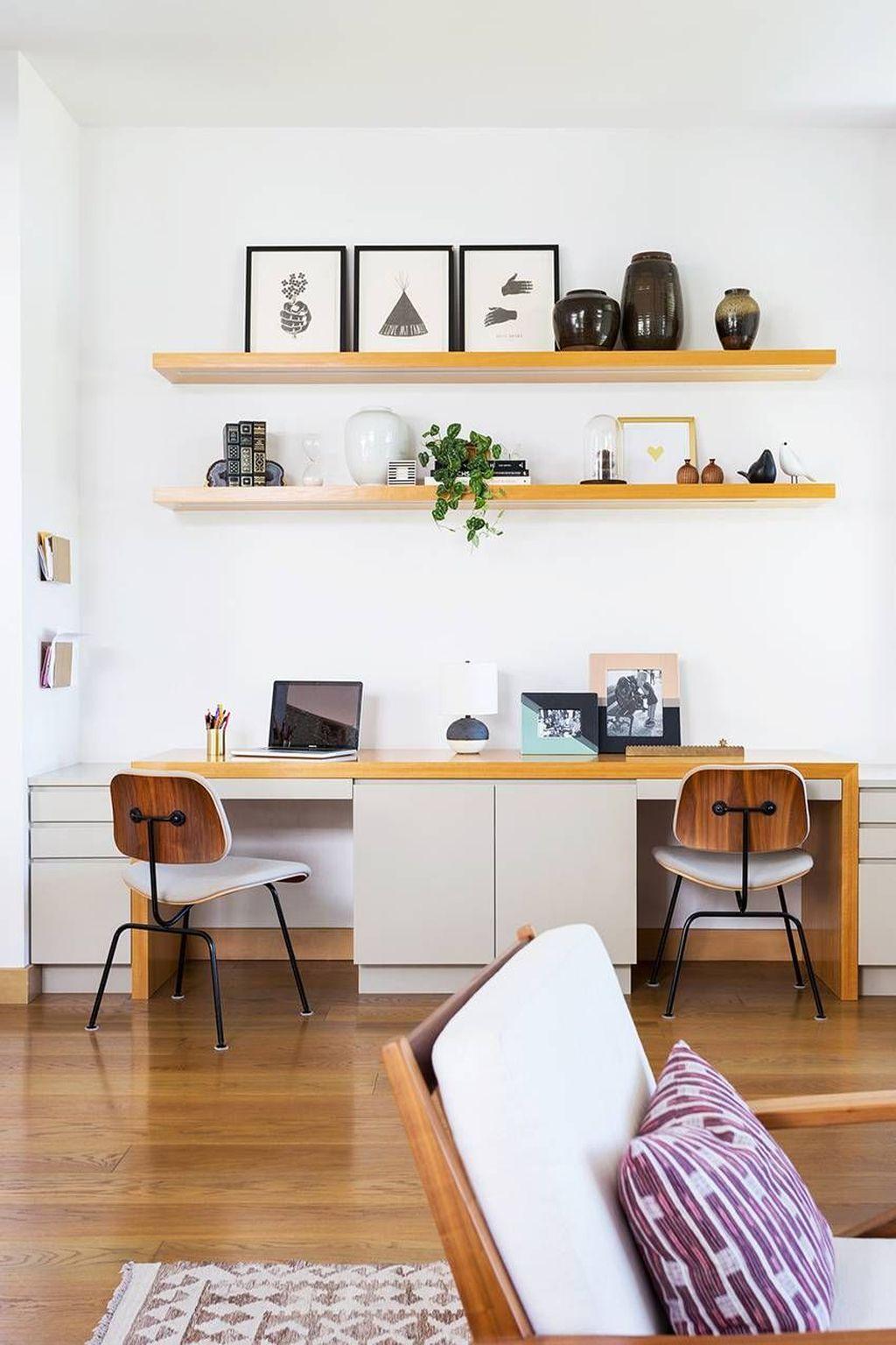 Inspiring Double Desk Home Office Design Ideas 25