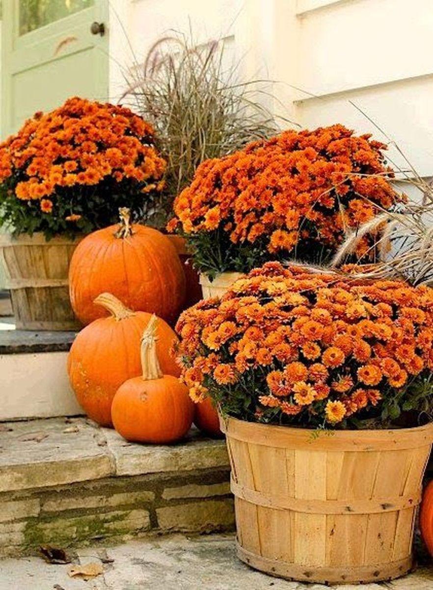 Lovely Outdoor Fall Theme Porch Decor Ideas 04