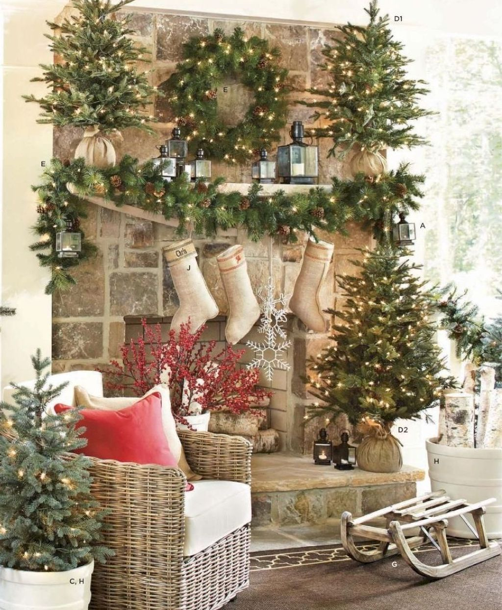 Popular Christmas Fireplace Mantel Decorations That You Like 11