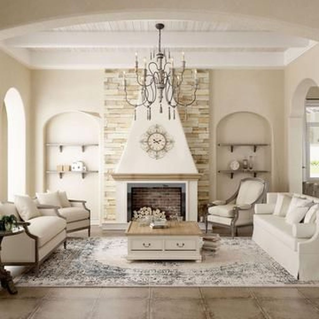 Popular French Country Living Room Decoration Ideas 15