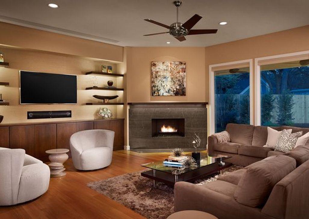 Stunning Corner Fireplace Design For Living Room 12