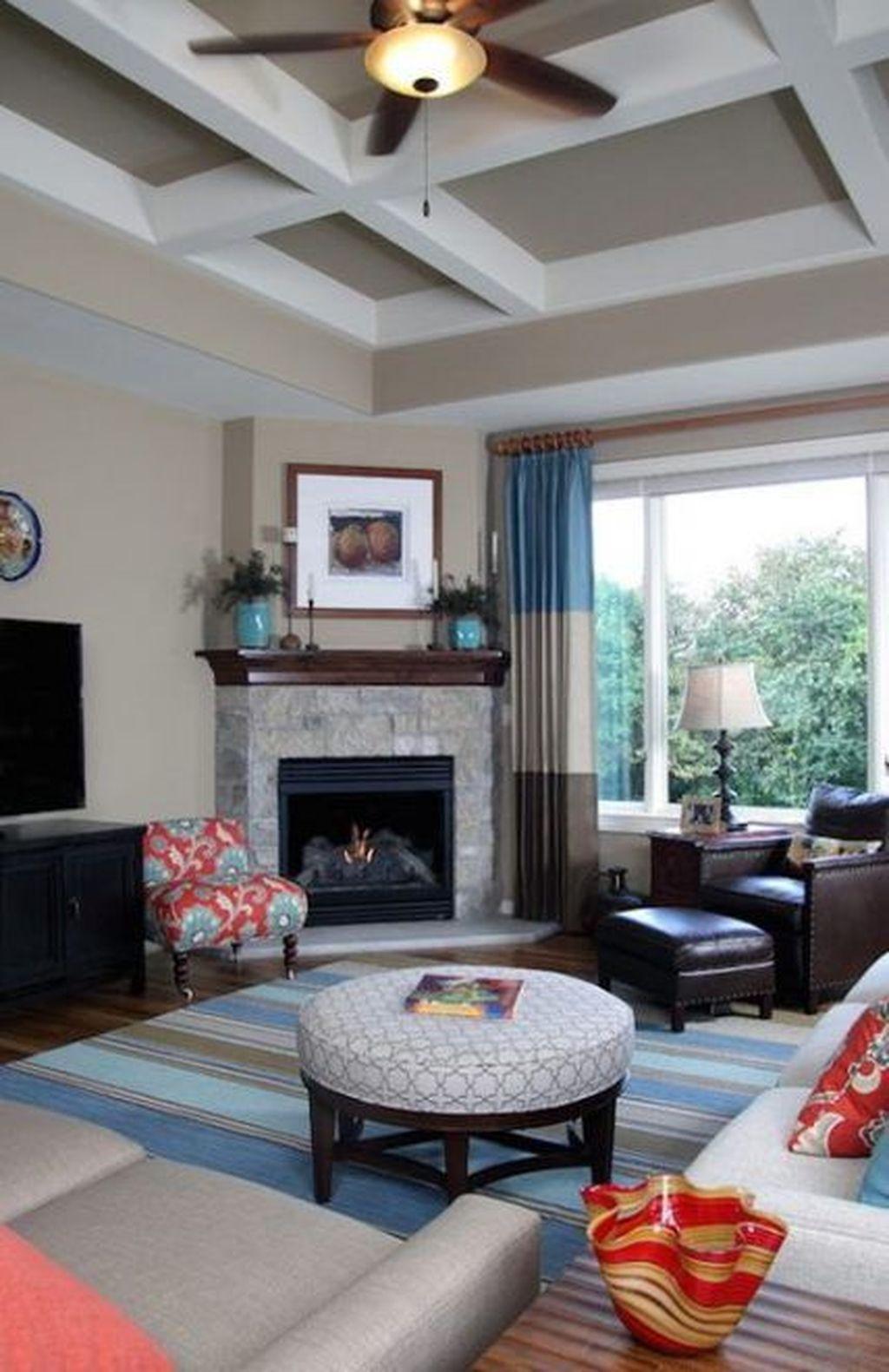 Stunning Corner Fireplace Design For Living Room 15