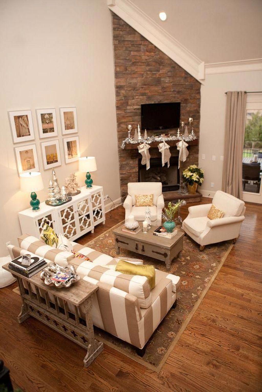 Stunning Corner Fireplace Design For Living Room 25