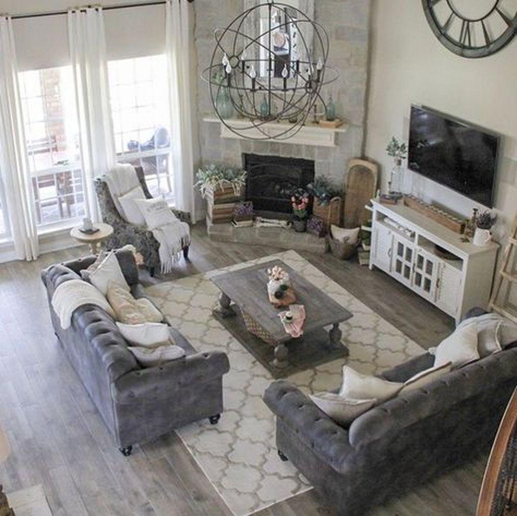 Stunning Corner Fireplace Design For Living Room 36
