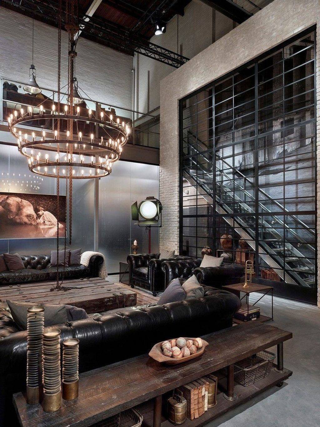 Gorgeous Industrial Living Room Design And Decoration Ideas 05