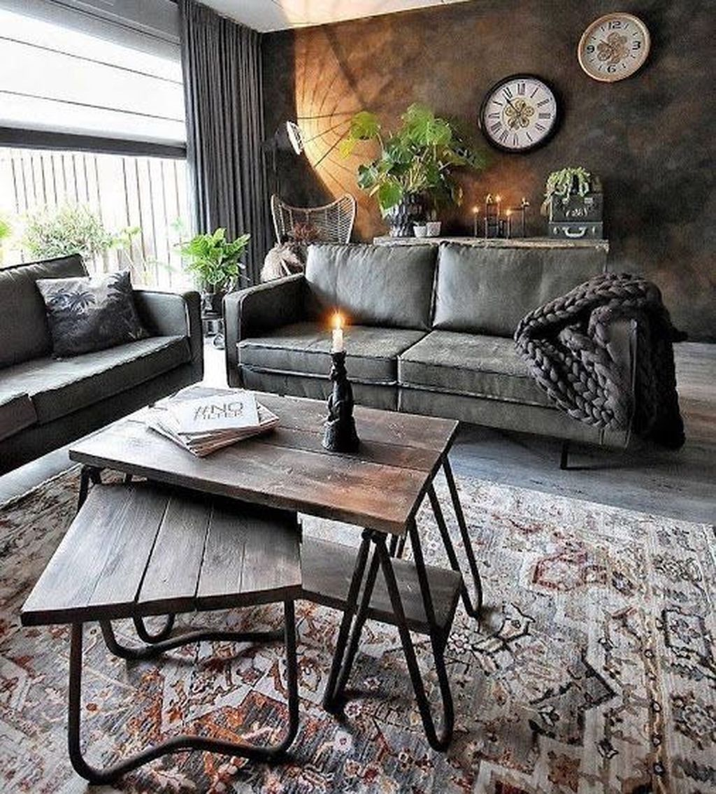 Gorgeous Industrial Living Room Design And Decoration Ideas 17