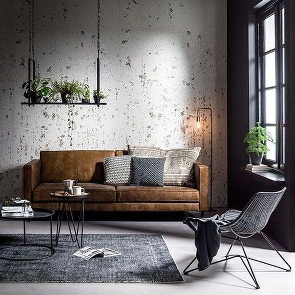 Gorgeous Industrial Living Room Design And Decoration Ideas 19