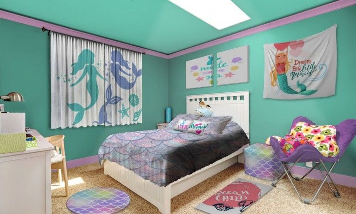Beautiful Mermaid Theme Bedroom Decor Ideas For Girls 28