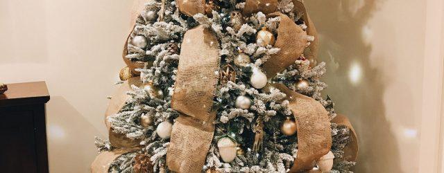 Burlap Ribbon Christmas Tree