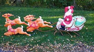 Vintage Santa And Reindeer Outdoor Decoration