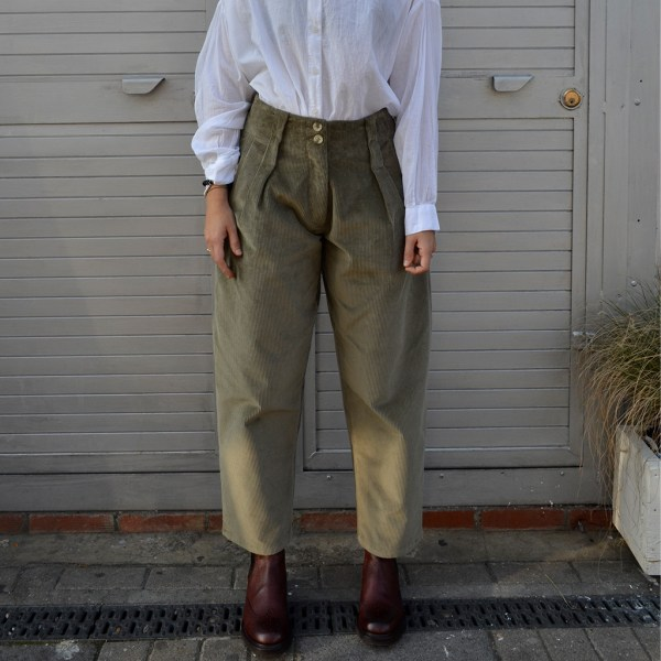 front view Khaki Jumbo Cord Trousers will add some much needed warmth and texture to your wardrobe. Made in the united kingdom at Mahala is an independent homewares and accessories