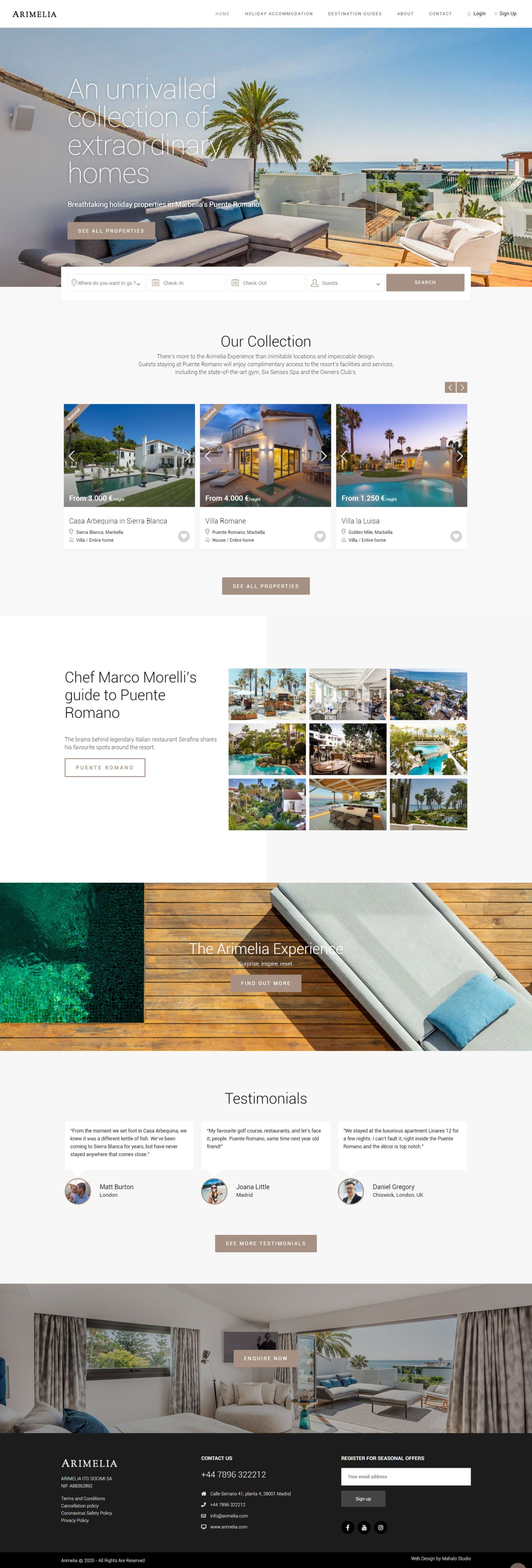 Arimelia luxury rentals Marbella - Real estate website template