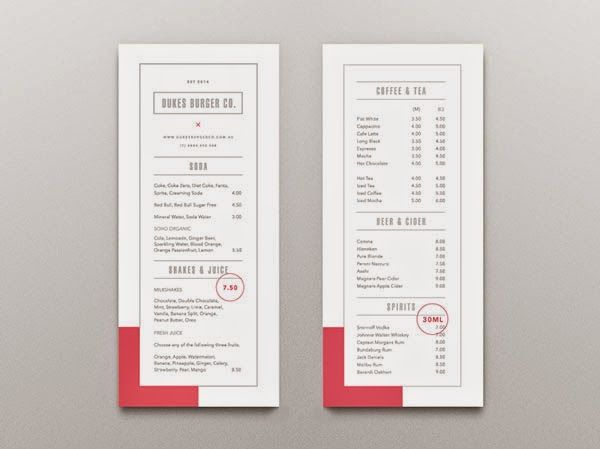 Restaurant menu design Marbella
