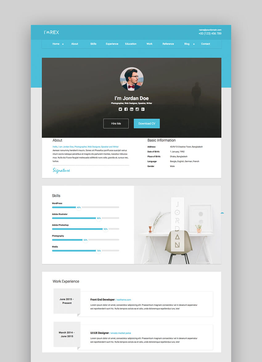 Im Rex - Material HTML Resume  CV Website Template