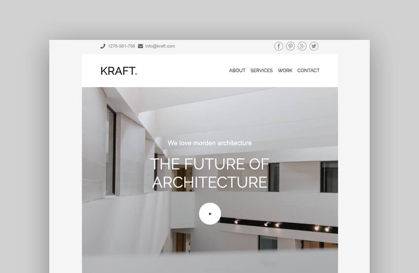 Kraft - Mailchimp Template for Interior Design and Architecture