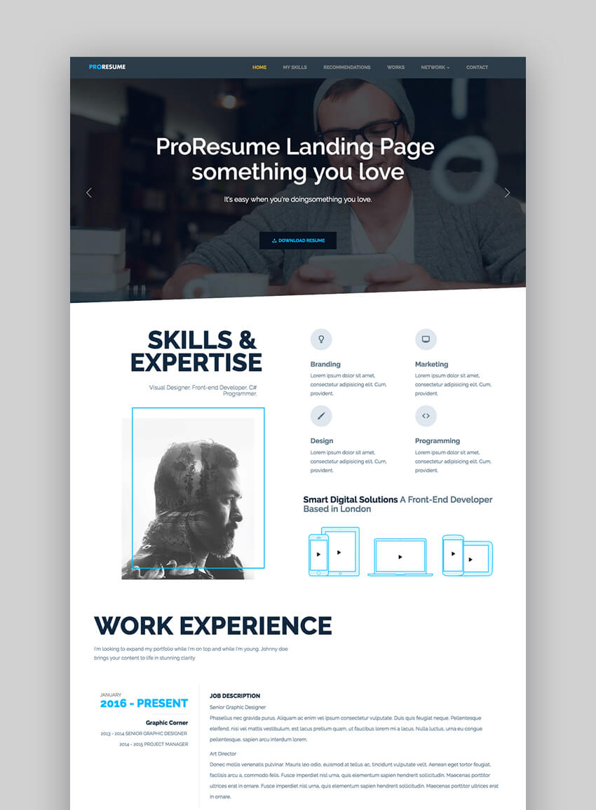 ProResume - Professional ResumeCV Site Template