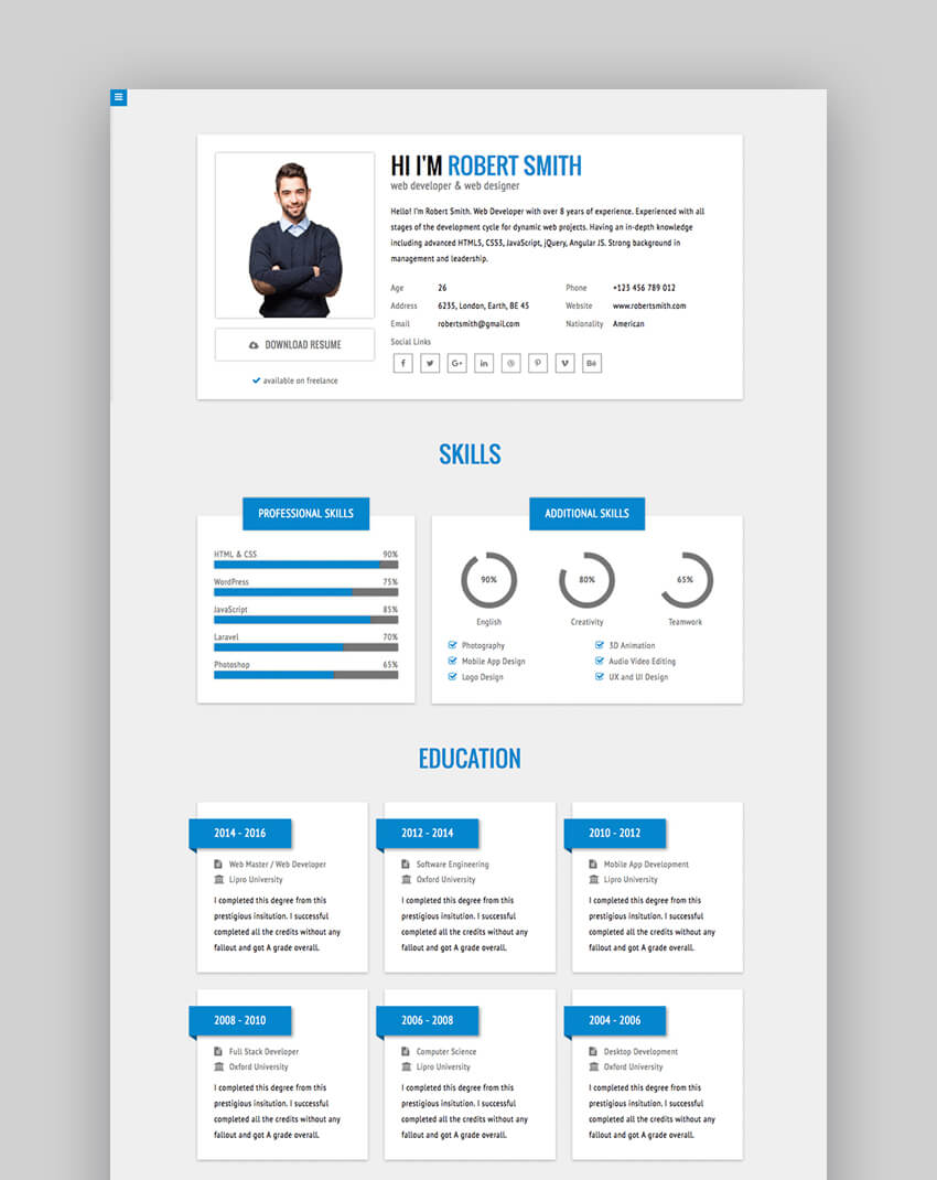 RStill - Minimal Stylish HTML Resume Website Template