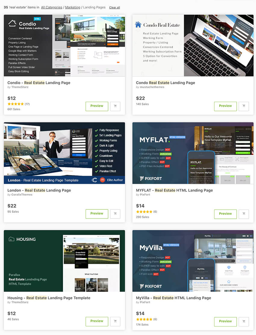 ThemeForest real estate landing page templates