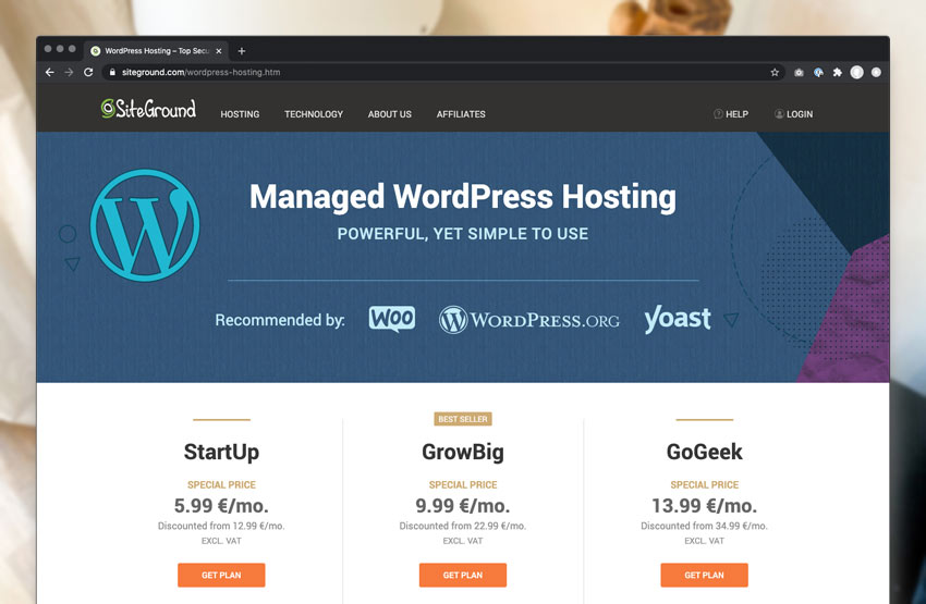 Managed WordPress Hosting on SiteGround