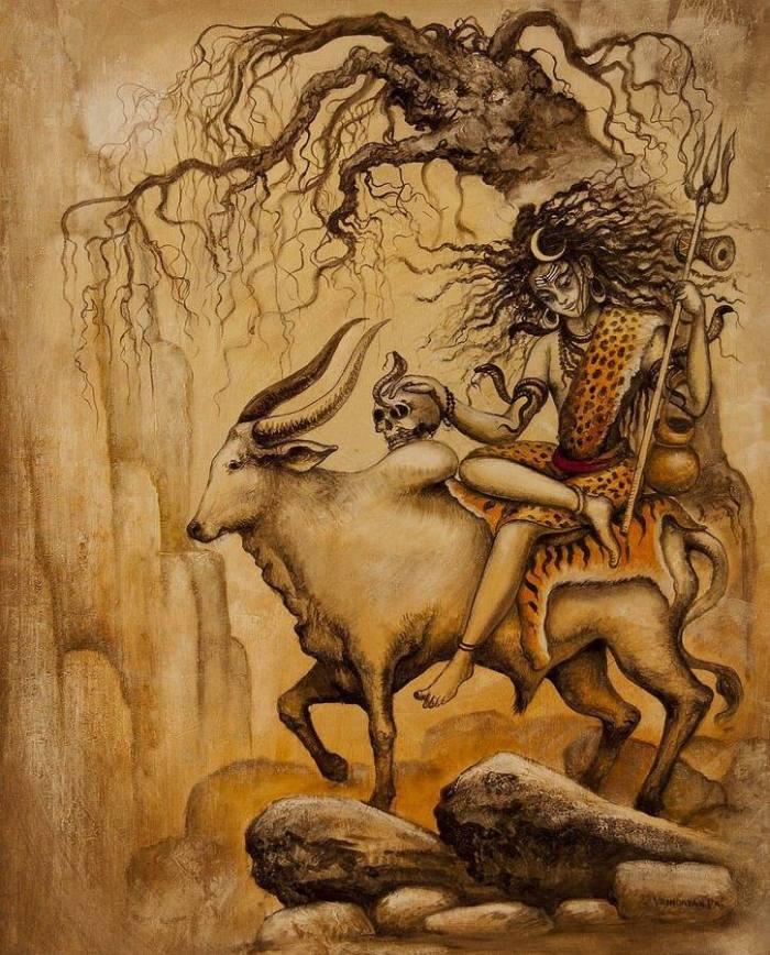 Shiva_on_vrushaba_with_skull