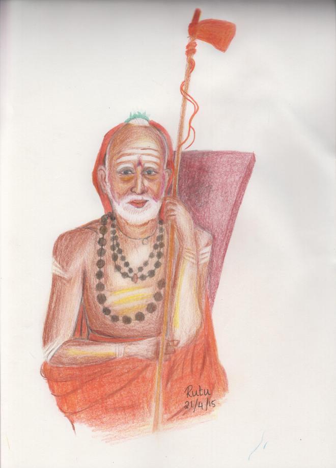 MahaPeriava----color  sketch  by  Rutu 001
