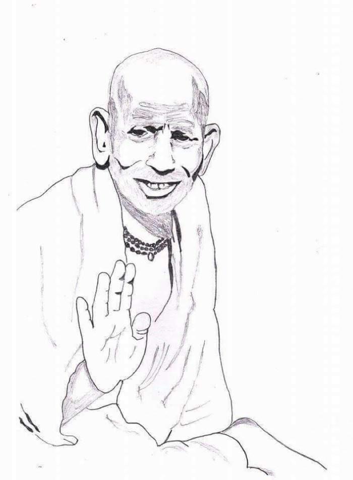 Periyava_right_hand_bless_sketch_RK