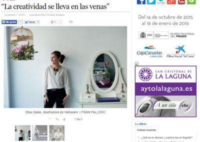 «La creatividad se lleva en las venas» Elisa Salas en el Diario de Avisos