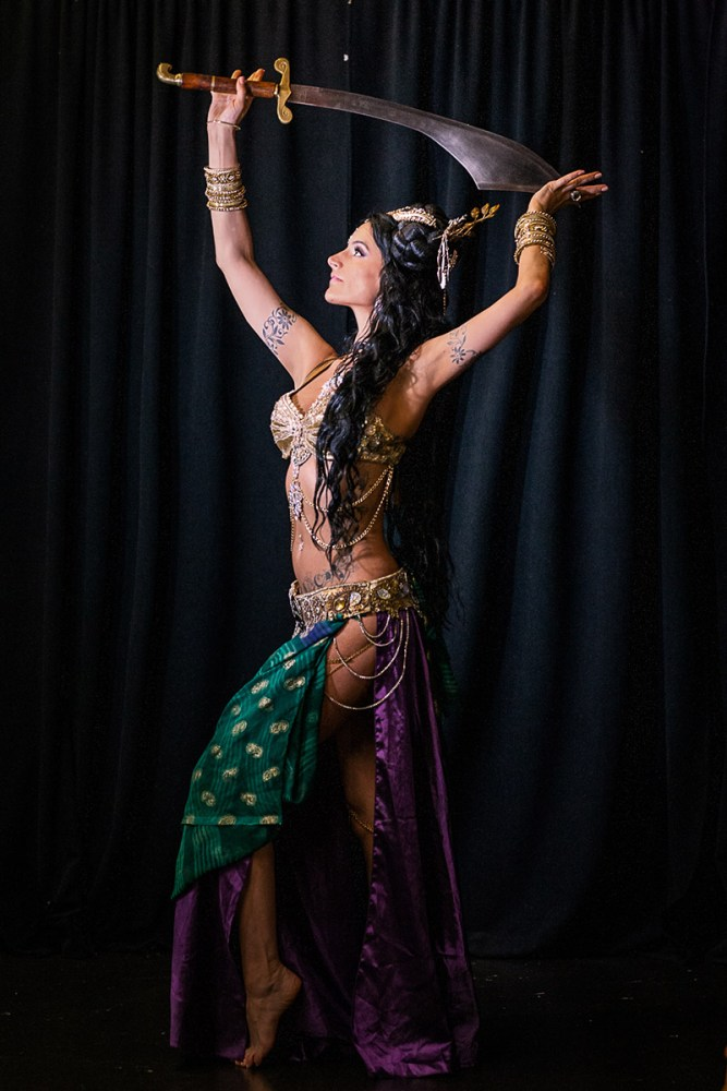 Vintage fusion belly dancer with sword