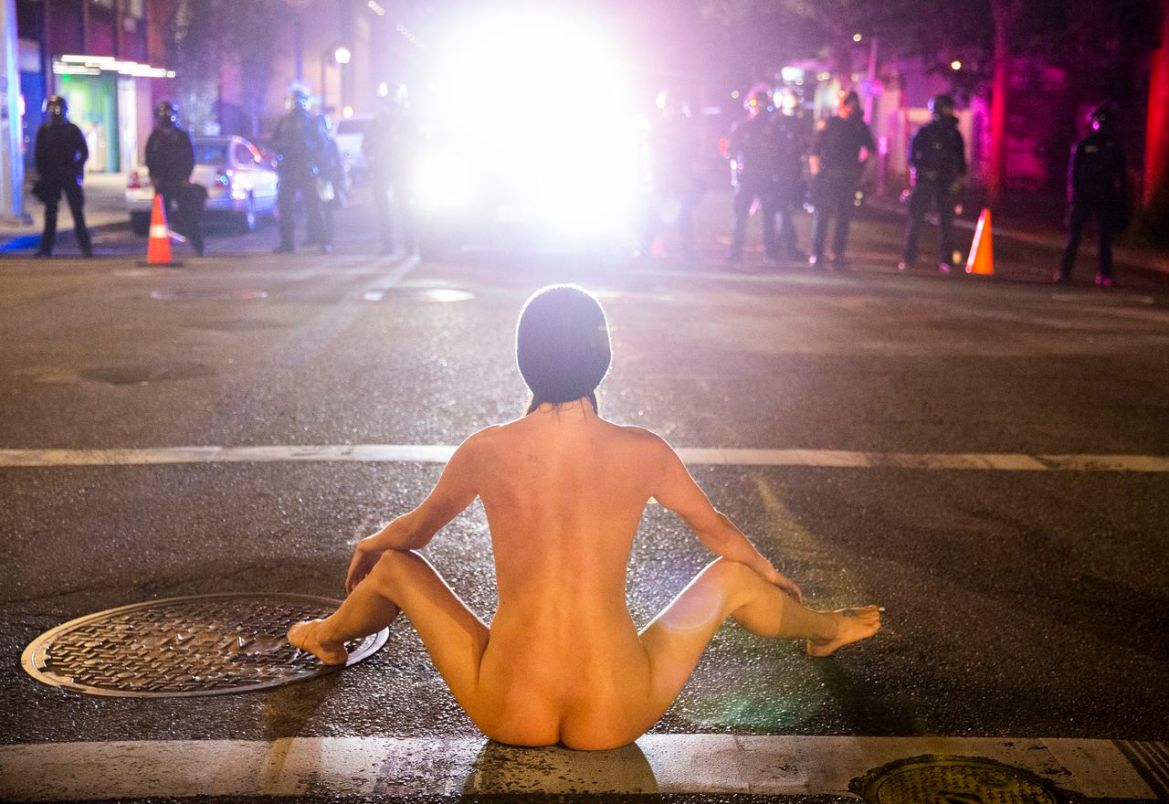 'Naked Athena' faces off with police during Portland protest