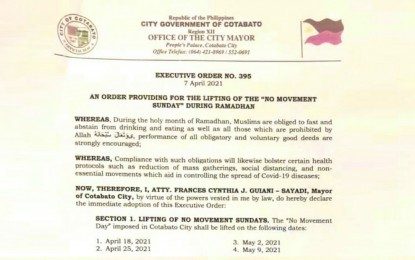 'No Movement Sunday' policy lifted in Cotabato City for Ramadan